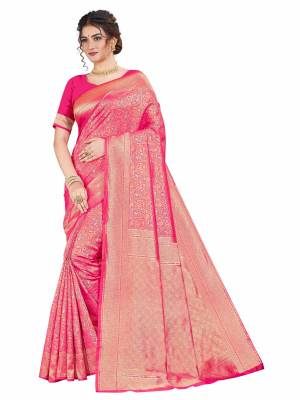 Here Is An Attractive Looking Heavy Weaved Designer Saree In Rani Pink Color. This Saree and Blouse Are Fabricated On Art Silk Beautified With Detailed Weave. Buy Now.