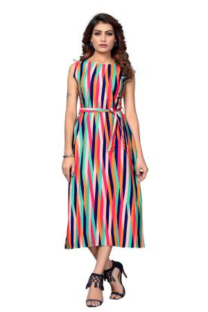 Here Is A Pretty Tunic Patterned Readymade Kurti In Multi Color Fabricated On Crepe. This Pretty Kurti Is Beautified With Prints And Can Be Wore As A One Piece And Also Can Be Paired With Bottom.