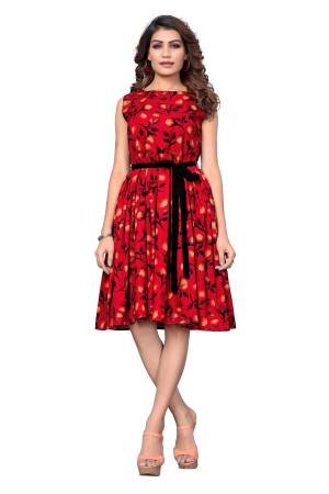 Look Like A Diva Wearing This Pretty Tunic Patterned Readymade Kurti In Red Color. This Printed Kurti Is Fabricated On Crepe Which Is Light Weight, Soft and Easy To Carry All Day Long.