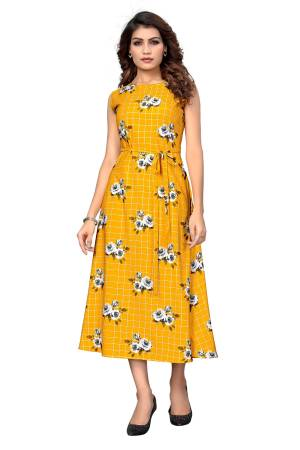 Here Is A Pretty Tunic Patterned Readymade Kurti In Yellow Color Fabricated On Crepe. This Pretty Kurti Is Beautified With Prints And Can Be Wore As A One Piece And Also Can Be Paired With Bottom.
