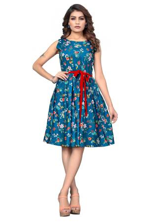 Look Like A Diva Wearing This Pretty Tunic Patterned Readymade Kurti In Blue Color. This Printed Kurti Is Fabricated On Crepe Which Is Light Weight, Soft and Easy To Carry All Day Long.
