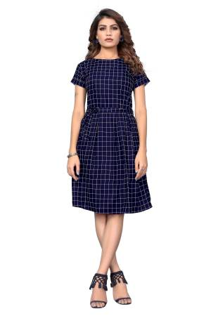 Here Is A Pretty Tunic Patterned Readymade Kurti In Navy Blue Color Fabricated On Crepe. This Pretty Kurti Is Beautified With Prints And Can Be Wore As A One Piece And Also Can Be Paired With Bottom.