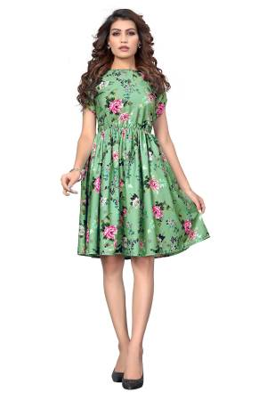 Look Like A Diva Wearing This Pretty Tunic Patterned Readymade Kurti In Green Color. This Printed Kurti Is Fabricated On Crepe Which Is Light Weight, Soft and Easy To Carry All Day Long.