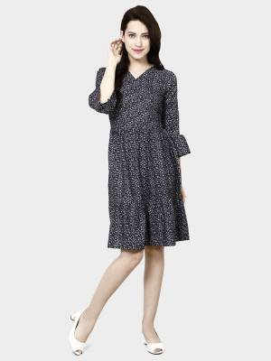 Here Is A Pretty Tunic Patterned Readymade Kurti In Black Color Fabricated On Crepe. This Pretty Kurti Is Beautified With Prints And Can Be Wore As A One Piece And Also Can Be Paired With Bottom.