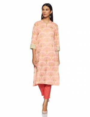 For Your Casual Or Semi-Casual Wear, Grab This Readymade Kurti In Peach Color Beautified With Prints And Work. This Kurti Is Light Weight And Available In All Regular Sizes.