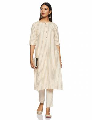 Be It Your College, Home Or Work Place, This Pretty Readymade Kurti Is Suitable For All. Its Elegant Cream Color And Light Weight Fabric Gives Rich Look To Your Personality. Buy Now.