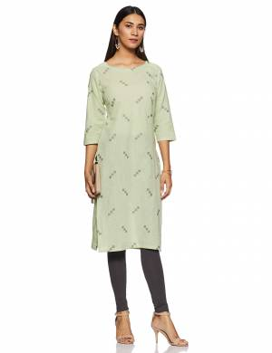 For Your Casual Or Semi-Casual Wear, Grab This Readymade Kurti In Pastel Green Color. This Kurti Is Light Weight And Available In All Regular Sizes.