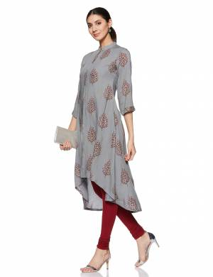 Simple And Elegant Looking Regular Wear Readymade Kurti Is Here In Grey Color. This Kurti Is Light In Weight And Its Fabric Is Durable And Easy To Care For.