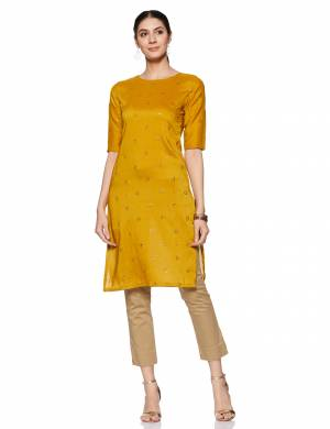 For Your Casual Or Semi-Casual Wear, Grab This Readymade Kurti In Musturd Yellow Color . This Kurti Is Light Weight And Available In All Regular Sizes.