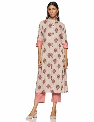 Simple And Elegant Looking Regular Wear Readymade Kurti Is Here In Baby Pink Color Paired With Pink Colored bottom. This Kurti Is Light In Weight And Its Fabric Is Durable And Easy To Care For.