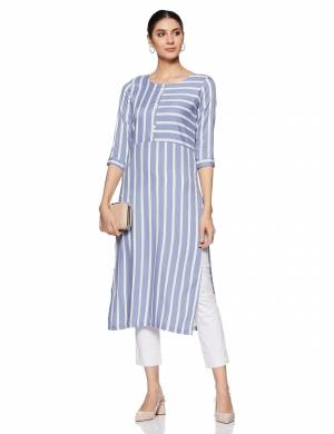 Be It Your College, Home Or Work Place, This Pretty Readymade Kurti Is Suitable For All. Its Elegant  Powder Blue Color And Light Weight Fabric Gives Rich Look To Your Personality. Buy Now.