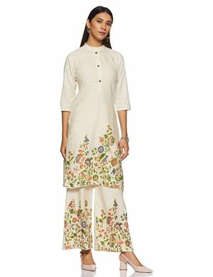 For Your Casual Or Semi-Casual Wear, Grab This Readymade Kurti In Off-White Color. This Kurti Is Light Weight And Available In All Regular Sizes.