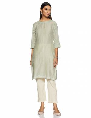 Simple And Elegant Looking Regular Wear Readymade Kurti Is Here In Light Pastel Green Color Paired With Off-White Colored Bottom. This Kurti Is Light In Weight And Its Fabric Is Durable And Easy To Care For.