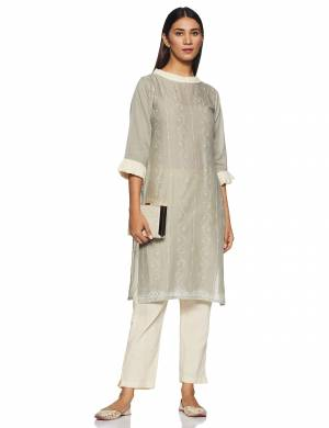 Be It Your College, Home Or Work Place, This Pretty Readymade Pair Of Kurti Is Suitable For All. Its Elegant Light Grey And Off-White Color And Light Weight Fabric Gives Rich Look To Your Personality. Buy Now.