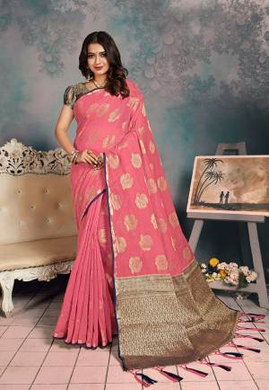 Shine Bright Wearing This Rich Silk Based Designer Saree In?Pink Color. This Saree Is Fabricated On Chanderi Silk Paired With Art Silk Fabricated Blouse. It Is Beautified With Heavy Detailed Weaved Giving An Attractive Look?