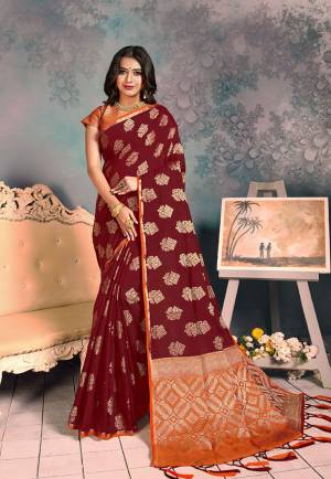 Shine Bright Wearing This Rich Silk Based Designer Saree In?Maroon Color. This Saree Is Fabricated On Chanderi Silk Paired With Art Silk Fabricated Blouse. It Is Beautified With Heavy Detailed Weaved Giving An Attractive Look?