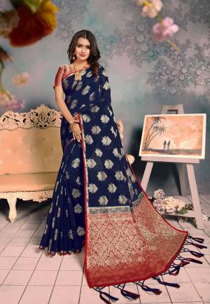 For A Proper Traditional Look, Grab This Pretty Designer Saree In?Navy Blue Color. This Saree Is Chanderi Silk Based Beautified With Detailed Attractive Weave Paired With Art Silk Fabricated Blouse. Buy Now.