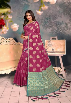 Shine Bright Wearing This Rich Silk Based Designer Saree In?Magenta Pink Color. This Saree Is Fabricated On Chanderi Silk Paired With Art Silk Fabricated Blouse. It Is Beautified With Heavy Detailed Weaved Giving An Attractive Look?