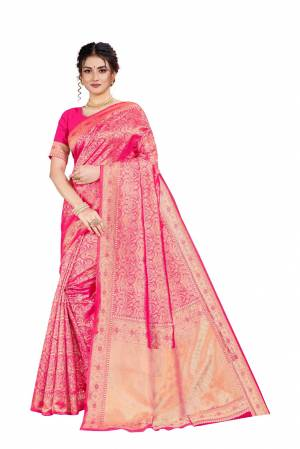Here Is An Attractive Looking Heavy Weaved Designer Saree In Dark Pink Color. This Saree and Blouse Are Fabricated On Art Silk Beautified With Detailed Weave. Buy Now.