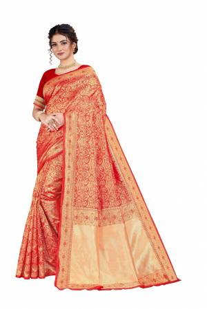 Celebrate This Festive Season With Beauty And Comfort Wearing This Designer Silk Based Saree In Red Color. This Saree And Blouse Are Fabricated on Art Silk Beautified With Heavy Weave.