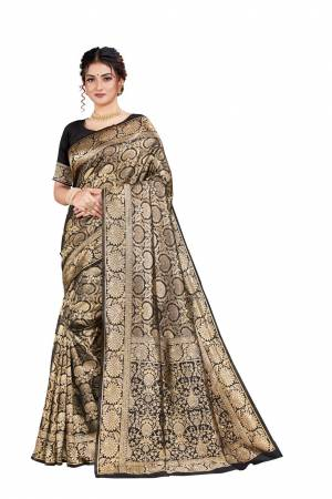Here Is An Attractive Looking Heavy Weaved Designer Saree In Black Color. This Saree and Blouse Are Fabricated On Art Silk Beautified With Detailed Weave. Buy Now.