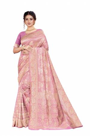 Celebrate This Festive Season With Beauty And Comfort Wearing This Designer Silk Based Saree In Light Pink Color. This Saree And Blouse Are Fabricated on Art Silk Beautified With Heavy Weave.