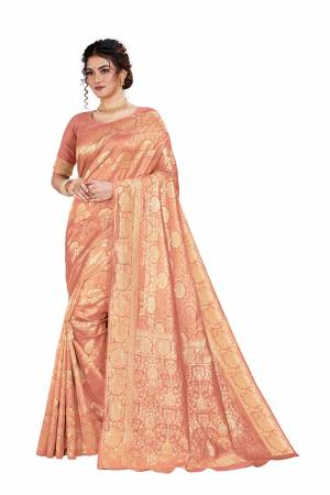 Here Is An Attractive Looking Heavy Weaved Designer Saree In Peach Color. This Saree and Blouse Are Fabricated On Art Silk Beautified With Detailed Weave. Buy Now.