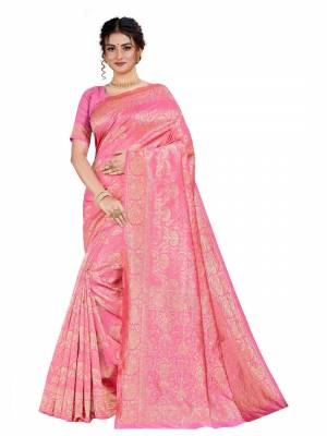 Celebrate This Festive Season With Beauty And Comfort Wearing This Designer Silk Based Saree In Pink Color. This Saree And Blouse Are Fabricated on Art Silk Beautified With Heavy Weave.