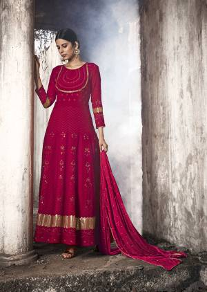 Grab This Heavy Designer Floor Length Suit Is In Attractive Red Color. Its Heavy Embroidered Top Is Fabricated On Georgette Paired With Santoon Bottom And Chiffon Fabricated Dupatta. Buy This Lovely Lakhnavi Embroidered Floor Length Suit Now.