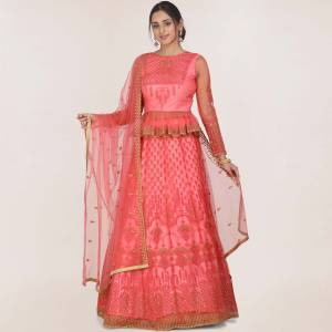 You will Definitely Earn Lots Of Compliments In This Trendy Heavy Designer Lehenga Choli In Pink Fabricated On Net. Its Pretty Color Pallete And Grace Of Fabric Will Give An Elegant Look To Your Personality.