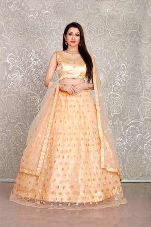 Simple And Elegant Looking Designer Lehenga Choli Is Here In All Over Peach Color. This Lehenga Choli IS Net Based Beautified With Pretty Attractive Embroidered Buttis.