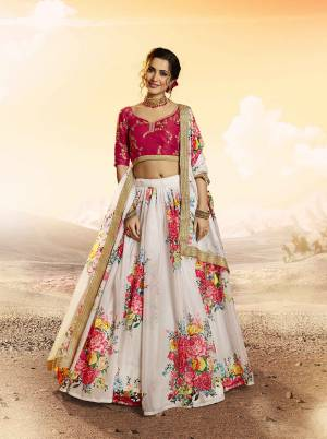 Look Pretty In This Designer Lehenga Choli In Red Colored Blouse Paired With White Colored Lehenga And Dupatta. Its Blouse Is Fabricated On Art Silk Beautified With Embroidery Paired With Orgenza Fabricated Lehenga And Dupatta Beautified With Pretty Floral Prints.