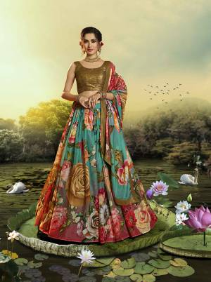 Celebrate This Festive And Wedding Season Wearing This Trendy Designer Lehenga Choli In Sequence Embroidered Copper Colored Blouse Paired With Multi Colored Lehenga And Dupatta Which Is Beautified With Pretty Floral Prints.
