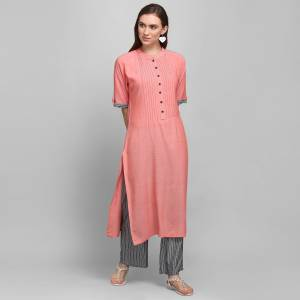 For Your Casual Or Semi-Casual Wear, Grab This Simple And Elegant Looking Readymade Pair Of Kurti and Plazzo In Pink And Dark Grey. This Pair Is Rayon Based Which Is Soft Towards Skin And Ensures Superb Comfort All Day Long.