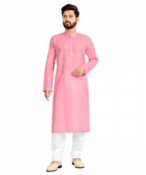 Take your ethnic style quotient to the next level by wearing this?fashionable kurta set. which has been designed keeping the latest trends in mind. This set is a must have in a men's ethnic wardrobe. Tailored from finest fabric and fashioned with a banded collar for a dash of style. It will augment your look and make you the centre of attraction at any occasion.