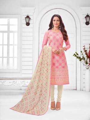 Grab This Designer Straight Suit For Your Semi-Casual Wear In Pink Color Paired With Off-White Colored Bottom and Dupatta. Its Top and Dupatta Are Modal Silk Based Paired With Cotton Bottom.