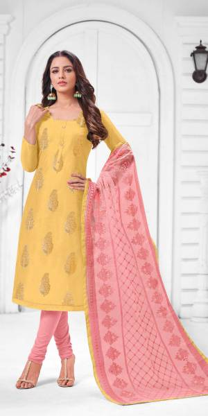 Simple And Elegant Looking Designer Straight Suit Is Here In Yellow Color Paired With Pink Colored bottom And Dupatta. Its Top Is Fabricated On Modal Silk Paired With Cotton Bottom and Orgenza Dupatta.