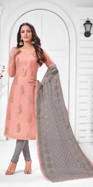 Simple And Elegant Looking Designer Straight Suit Is Here In Dusty Pink Color Paired With Grey Colored bottom And Dupatta. Its Top Is Fabricated On Modal Silk Paired With Cotton Bottom and Orgenza Dupatta.