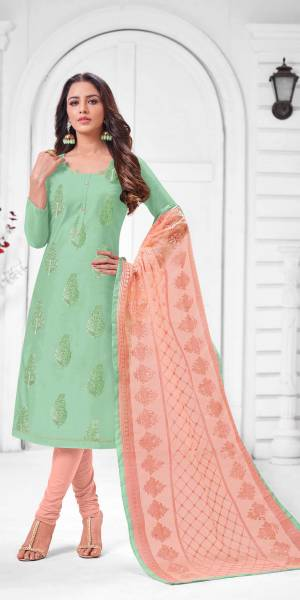 Simple And Elegant Looking Designer Straight Suit Is Here In Sea Green Color Paired With Peach Colored bottom And Dupatta. Its Top Is Fabricated On Modal Silk Paired With Cotton Bottom and Orgenza  Dupatta.