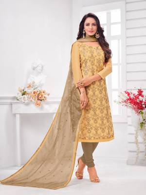 Simple And Elegant Looking Designer Straight Suit Is Here In Beige Color Paired With Brown Colored bottom And Dupatta. Its Top Is Fabricated On Modal Silk Paired With Cotton Bottom and Orgenza Dupatta.