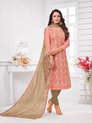 Simple And Elegant Looking Designer Straight Suit Is Here In Pink Color Paired With Brown Colored bottom And Dupatta. Its Top Is Fabricated On Modal Silk Paired With Cotton Bottom and Orgenza Dupatta.