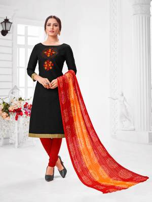 Here Is A Pretty Designer Straight Suit In Black Color Paired With Contrasting Red And Yellow Colored Bottom and Dupatta. Its Top Is Modal Silk Based Paired With Cotton Bottom and Chiffon Dupatta. All Its Fabrics Are Light Weight And Easy To Carry All Day Long.
