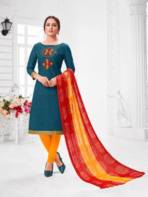 Here Is A Pretty Designer Straight Suit In Blue Color Paired With Contrasting Yellow And Red Colored Bottom and Dupatta. Its Top Is Modal Silk Based Paired With Cotton Bottom and Chiffon Dupatta. All Its Fabrics Are Light Weight And Easy To Carry All Day Long.