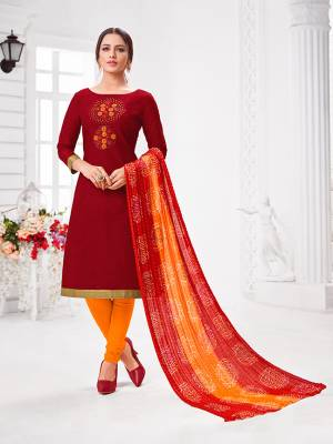 Here Is A Pretty Designer Straight Suit In Red Color Paired With Contrasting Red And Orange Colored Bottom and Dupatta. Its Top Is Modal Silk Based Paired With Cotton Bottom and Chiffon Dupatta. All Its Fabrics Are Light Weight And Easy To Carry All Day Long.