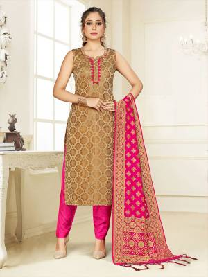 Grab This Pretty Designer Straight Suit In Beige Color Paired With Rani Pink Colored Bottom And Dupatta. Its Top, Bottom And Dupatta Are Fabricated On Cotton Silk Beautified With Weave.