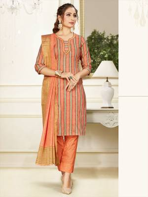 Simple And Elegant Looking Designer Straight Suit In Light Orange Color. Its Top, Bottom And Dupatta Are Fabricated On Cotton Beautified With Prints. Its Fabric Ensures Superb Comfort All Day Long.