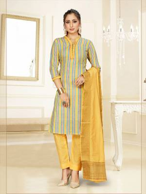Simple And Elegant Looking Designer Straight Suit In Grey and Yellow Color. Its Top, Bottom And Dupatta Are Fabricated On Cotton Beautified With Prints. Its Fabric Ensures Superb Comfort All Day Long.
