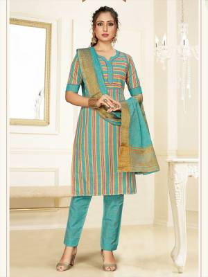 Simple And Elegant Looking Designer Straight Suit In Sky Blue Color. Its Top, Bottom And Dupatta Are Fabricated On Cotton Beautified With Prints. Its Fabric Ensures Superb Comfort All Day Long.