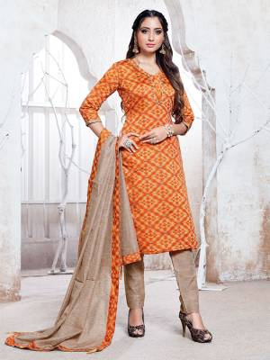 Flaunt Your Rich And Elegant Taste Wearing This Pretty Orange And Beige Colored Straight Suit. Its Top, Bottom And Dupatta Are Fabricated On Cotton Silk Which Gives A Rich Look To Your Personality.