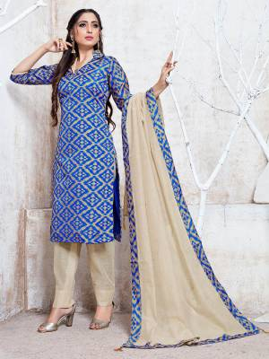 Add This Pretty Simple Straight Suit To Your Wardrobe In Royal Blue and Cream Color. This Suit Is Fabricated On Cotton Silk Which Is Durable, Soft Towards Skin And Easy To Carry All Day Long.